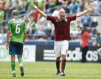 Colorado Rapids forward Conor Casey protests a call during play against the Seattle Sounders FC at CenturyLink Field in Seattle Saturday July 16, 2011. The Sounders won the game 4-3.