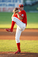 July 4, 2009:  Pitcher Deryk Hooker of the Batavia Muckdogs delivers a pitch during a game at Dwyer Stadium in Batavia, NY.  The Muckdogs are the NY-Penn League Short-Season Class-A affiliate of the St. Louis Cardinals.  Photo By Mike Janes/Four Seam Images