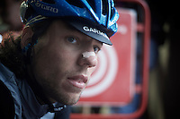 2013 Giro d'Italia.stage 12.Longarone - Treviso: 134km..Thomas Dekker (NLD) found some indoor shelter before the start