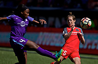 Portland, OR - Saturday April 15, 2017: Jamia Fields, Meghan Klingenberg during a regular season National Women's Soccer League (NWSL) match between the Portland Thorns FC and the Orlando Pride at Providence Park.