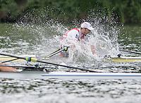 Lucerne, SWITZERLAND<br /> <br /> BEL M1X. Hannes OBRENO, celebartes Qualifying for Rio at tje 2016 European Olympic Qualifying Regatta, Lake Rotsee.<br /> <br /> Tuesday  24/05/2016<br /> <br /> [Mandatory Credit; Peter SPURRIER/Intersport-images]