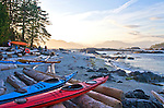 Barkley Sound, Broken Islands, Pacific Rim National Park, Vancouver Island, West Coast, British Columbia, Canada, Clarke Island,, sea kayaks, kayakers at camp,
