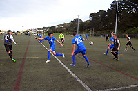 Action from the Central League Football match between Wellington Olympic and Napier City Rovers at Wakefield Park in Wellington, New Zealand on Saturday, 13 June 2020. Photo: Dave Lintott / lintottphoto.co.nz