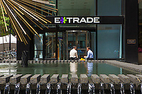 E-Trade headquarters is pictured in the New York City borough of Manhattan, NY, Monday May 12, 2014. E*Trade Financial Corporation (often styled E*TRADE) is a U.S.-based financial services company mainly known as an online discount stock brokerage service for self-directed investors.