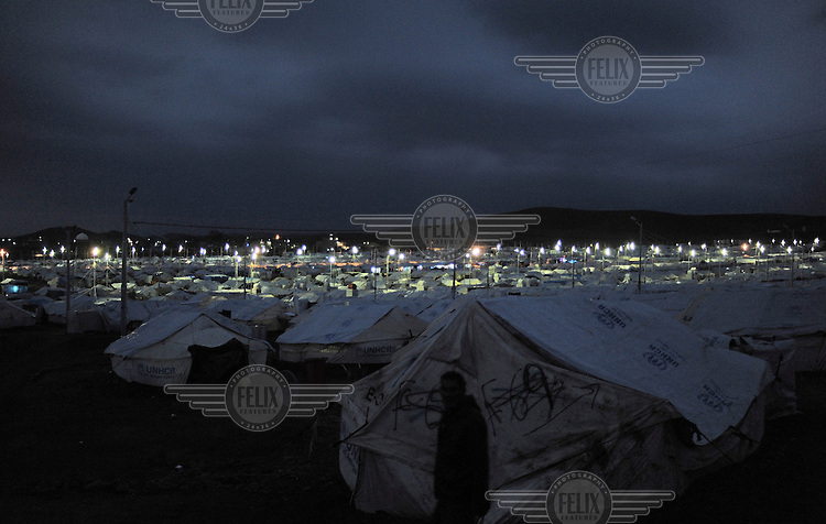 A cold and wet New Year's Eve night at the Kawargosk Syrian Refugee Camp.