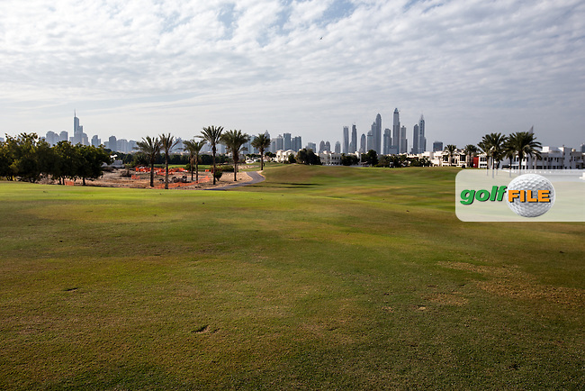 Reverse view of the 14th fairway at The Address Montgomerie Golf Club, Dubai, United Arab Emirates.  27/01/2016. Picture: Golffile | David Lloyd<br /> <br /> All photos usage must carry mandatory copyright credit (&copy; Golffile | David Lloyd)