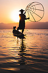 Traditional fisherman at Inle Lake by Bradley Hamer