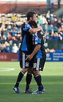 Arturo Alvarez (10) celebrates his goal with Bobby Burling. The San Jose Earthquakes tied the Columbus Crew 2-2 at Buck Shaw Stadium in Santa Clara, California on June 2nd, 2010.