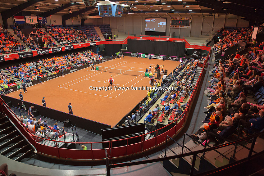 Netherlands, Den Bosch, April 18 2015 Maaspoort, Fedcup Netherlands-Australia,  Overall vieuw<br /> Photo: Tennisimages/Henk Koster