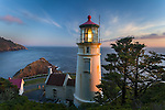 Lane County, OR      <br /> Heceta Head lighthouse at dusk on the central Oregon coast