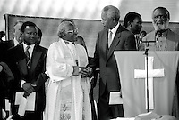 SOWETO, SOUTH AFRICA - APRIL 15: Former President Nelson Mandela of South Africa greets Desmond Tutu at a pre-election rally weeks before the historic democratic election on April 15, 1994 in Soweto, South Africa. The ANC freedom fighter was in prison for 27 years and released in 1990. He became President of South Africa after the first multiracial democratic elections in April 1994. Mr. Mandela retired after one term in 1999 and gave the leadership.