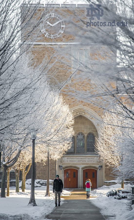 Jan. 14, 2015; Students brave the bitter cold (5 degrees) as they walk to class. Frost covers the trees in front of O'Saughneesy Hall. (Photo by Barbara Johnston/University of Notre Dame)