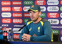Aaron Finch (Australia) answers questions during a Press Conference at Edgbaston Stadium on 10th July 2019
