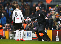 17th March 2018, Craven Cottage, London, England; EFL Championship football, Fulham versus Queens Park Rangers; Fulham Manager Slavisa Jokanovic giving tactical information to Stefan Johansen of Fulham from the touchline