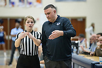Greg White, Bentonville West head coach, talks to referee Kimberly Vaught Friday, Feb. 14, 2020, during the game vs Springdale Har-Ber at Wildcat Arena in Springdale. Go to nwaonline.com/prepbball/ to see more photos.<br /> (NWA Democrat-Gazette/Ben Goff)