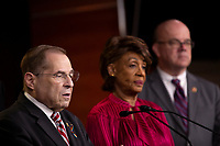 House Judiciary Committee Chairman Jerrold Nadler (D-NY), Financial Services Committee Chairwoman Maxine Waters (Democrat of California), and Rules Committee Chairman Jim McGovern (Democrat of Massachussetts) attend a press conference on Capitol Hill in Washington D.C., U.S. on June 11, 2019.  The press conference followed a House vote, where lawmakers passed a bill which allows the House Judiciary Committee to call on Federal judges to enforce Congressional subpoenas. Photo Credit: Stefani Reynolds/CNP/AdMedia