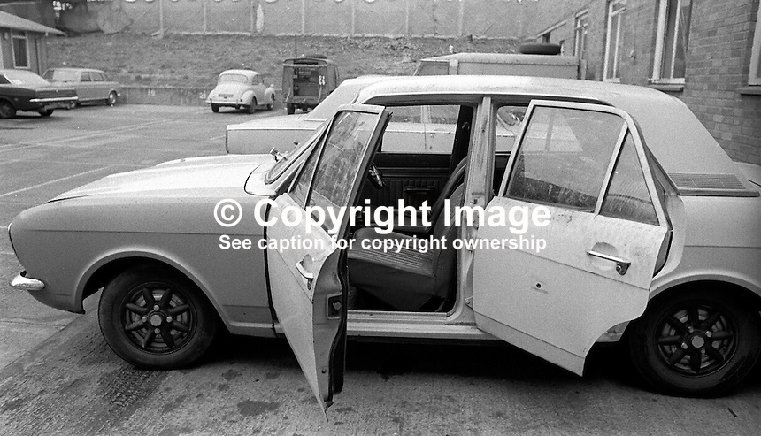 The car in which Anthony McDowell, schoolboy, 12 years, from Ardoyne area, Belfast, N Ireland, was travelling in when he died in crossfire during a Provisional IRA gun attack on British soldiers. Who actually  killed him in the incident on 19th April 1973 remains a mystery.  197304190208b<br />