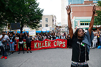 Protests take place in downtown Pittsburgh for Antwon Rose, the 17-year old who was shot and killed by East Pittsburgh police. (Photo by Jared Wickerham/For Pittsburgh Current)