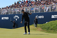Marcus Kinhult (SWE) putts to win on the 18th green during Round 4 of the Betfred British Masters 2019 at Hillside Golf Club, Southport, Lancashire, England. 12/05/19<br /> <br /> Picture: Thos Caffrey / Golffile<br /> <br /> All photos usage must carry mandatory copyright credit (© Golffile | Thos Caffrey)
