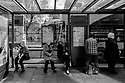 Edinburgh, UK. 15.04.2017. People waiting for a bus on Princes Street. Photograph © Jane Hobson.