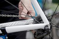 bikes getting specifically prepped for the 'cobbled' stage 5<br /> <br /> 2014 Tour de France<br /> stage 4: Le Touquet-Paris-Plage/Lille Métropole (163km)