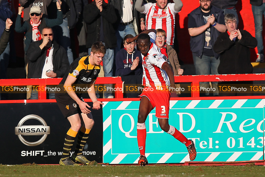 Bira Dembele of Stevenage (3) celebrates scoring the second goal - Stevenage vs Newport County - Sky Bet League Two Football at the Lamex Stadium, Broadhall Way, Stevenage - 07/03/15 - MANDATORY CREDIT: Gavin Ellis/TGSPHOTO - Self billing applies where appropriate - contact@tgsphoto.co.uk - NO UNPAID USE