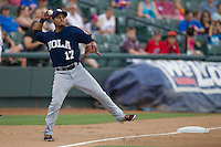 New Orleans Zephyrs third baseman Donovan Solano (17) makes a tough throw to first base during the Pacific Coast League baseball game against the Round Rock Express on June 30, 2013 at the Dell Diamond in Round Rock, Texas. Round Rock defeated New Orleans 5-1. (Andrew Woolley/Four Seam Images)