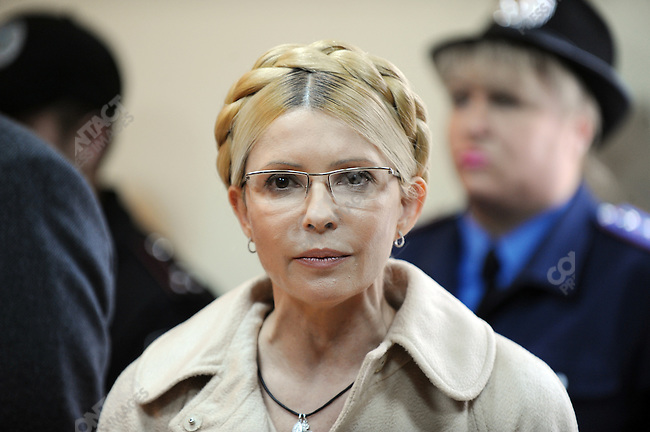 Former PM Yulia Tymoshenko stood to address journalists in the Pechersky court in Kiev as the judge read out her sentence of 7 years imprisonment and a fine of 1.5 billion hryvna (190 million dollars or 140 million euros). Kiev, Ukraine, October 11, 2011