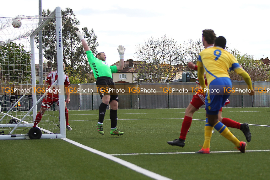Ralston Gabriel of Haringey  scores to make it 2-0 during Haringey Borough vs Bowers & Pitsea, Ryman League Division 1 North Football at Coles Park Stadium on 15th April 2017
