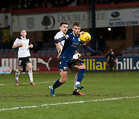 10th March 2020; Dens Park, Dundee, Scotland; Scottish Championship Football, Dundee FC versus Ayr United; Andrew Nelson of Dundee holds off Steven Bell of Ayr United
