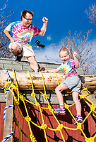 "Gavin MacCall and his daughter Lylah MacCall (age 5) on their home built obstacle course in North Glenn, Colorado, Wednesday, February 8, 2017. Gavin turned their backyard into an American Ninja Warrior ""mini-Ninja"" course.<br /> <br /> Photo by Matt Nager"