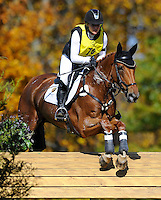 RF Demeter, with rider Marilyn Little-Meredith (USA), competes during the Cross Country test during the Fair Hill International at Fair Hill Natural Resources Area in Fair Hill, Maryland on October 20, 2012.