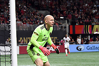 ATLANTA, GA - MARCH 07: ATLANTA, GA - MARCH 07: Atlanta United goalkeeper Brad Guzan directs play during the match against FC Cincinnati, which Atlanta won, 2-1, in front of a crowd of 69,301 at Mercedes-Benz Stadium during a game between FC Cincinnati and Atlanta United FC at Mercedes-Benz Stadium on March 07, 2020 in Atlanta, Georgia.