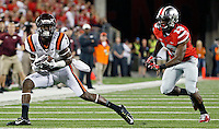 Virginia Tech Hokies wide receiver Isaiah Ford (1) makes a catch against Ohio State Buckeyes cornerback Eli Apple (13) during the 2nd quarter of their game in Ohio Stadium on September 6, 2014.  (Dispatch photo by Kyle Robertson)