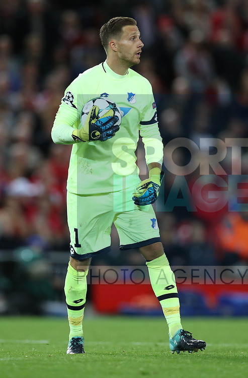 Oliver Baumann of Hoffenheim during the Champions League playoff round at the Anfield Stadium, Liverpool. Picture date 23rd August 2017. Picture credit should read: Lynne Cameron/Sportimage