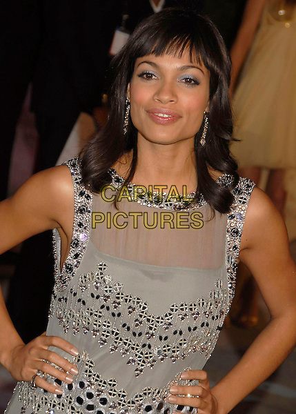 ROSARIO DAWSON.The 2007 Vanity Fair Oscar Party Hosted by Graydon Carter held at Morton's, West Hollywood, California, USA, 25 February 2007..oscars half length grey silver beaded dress sheer hands on hips.CAP/ADM/GB.©Gary Boas/AdMedia/Capital Pictures.