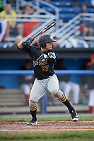 West Virginia Black Bears catcher Deon Stafford (57) at bat during a game against the Batavia Muckdogs on June 26, 2017 at Dwyer Stadium in Batavia, New York.  Batavia defeated West Virginia 1-0 in ten innings.  (Mike Janes/Four Seam Images)