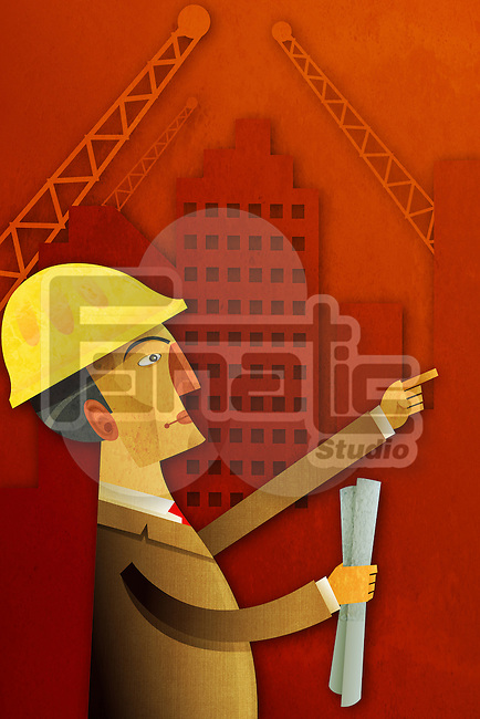 Illustrative image of an engineer holding blueprints