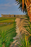 "The ""Town Wall"" 1704-1821 located at the Castillo de San Marcos National Monument in historic downtown St. Augustine, Florida."