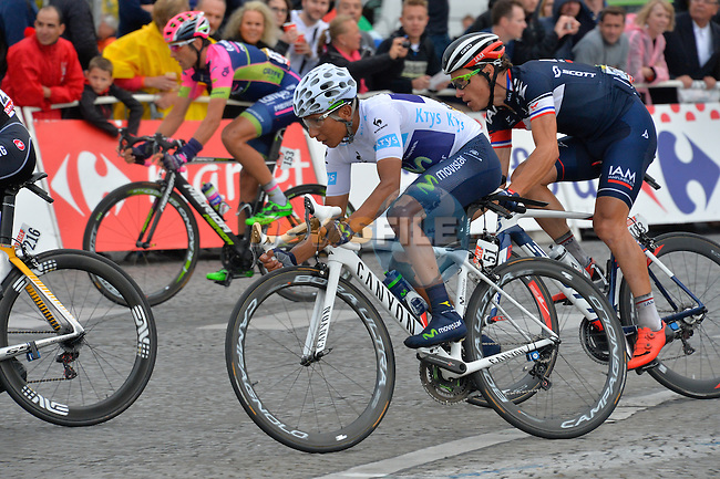 White Jersey Nairo Quintana (COL) Movistar in action on the Champs Elysees in Paris during Stage 21 of the 2015 Tour de France running 109.5km from Sevres to Paris - Champs Elysees, France. 26th July 2015.<br /> Photo: ASO/B.Bade/Newsfile