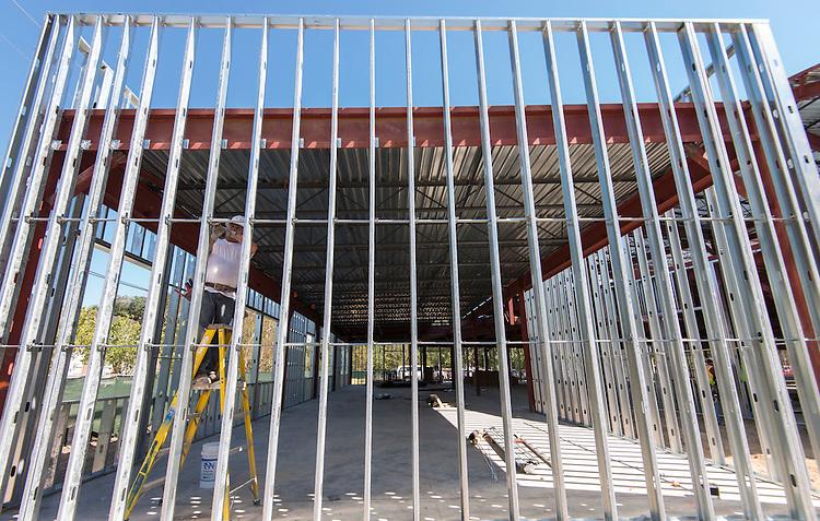 Construction crews work on the new Condit Elementary School, October 14, 2015.