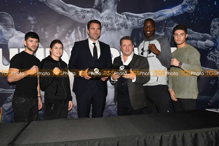 From left: Joe Cordina, Katie Taylor, Eddie Hearn, Steve White of JD Sports, Lawrence Okolie and Josh Kelly during a Matchroom Boxing Press Conference at The O2 on 2nd March 2017
