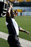 Jul 7, 2007; Hamilton, ON, CAN; Toronto Argonauts head coach Michael Pinball Clemons greets his players prior to the Hamilton Tiger-Cats 2007 season home opener at Ivor Wynne Stadium. The Argos defeated the Tiger-Cats 30-5. Mandatory Credit: Ron Scheffler, Special to the Spectator.