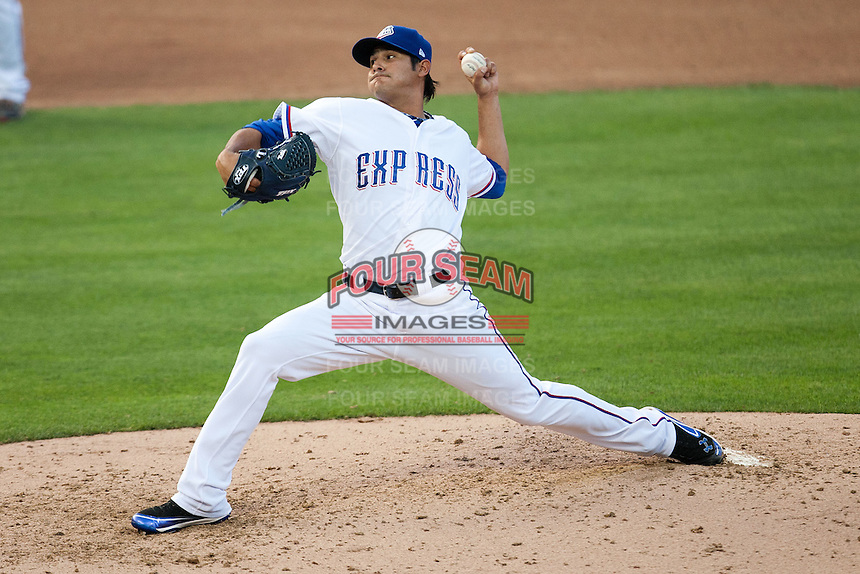Round Rock Express pitcher Martin Perez #45 delivers during the MLB exhibition baseball game against the Texas Rangers on April 2, 2012 at the Dell Diamond in Round Rock, Texas. The Rangers out-slugged the Express 10-8. (Andrew Woolley / Four Seam Images).