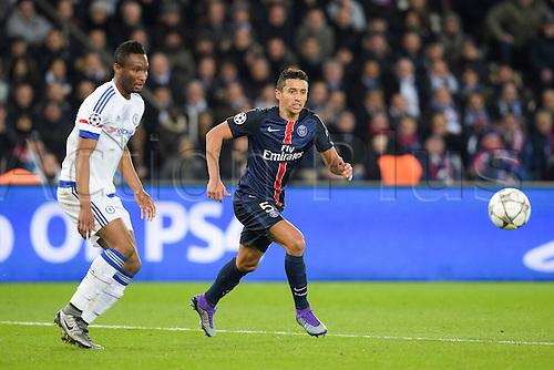 16.02.2016. Parc de Princes, Paris, France Champions League - Round of 16 - 1st Leg Paris St Germain versus Chelsea FC.  Marquinhos (PSG)