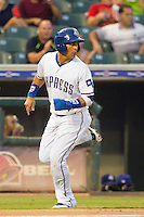 Round Rock Express outfielder Leonys Martin #27 rounds third base enroute to scoring a run during the Pacific Coast League baseball game against the Las Vegas 51s on August 7th, 2012 at the Dell Diamond in Round Rock, Texas. The Express defeated the 51s 5-4. (Andrew Woolley/Four Seam Images).