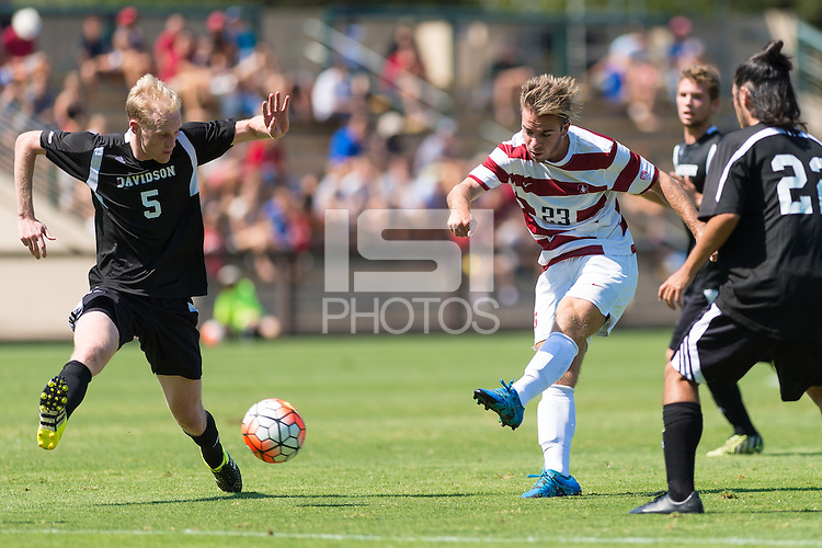 Stanford, CA - September 20, 2015: Sam Werner during the Stanford vs Davidson men's soccer match in Stanford, California.  The Cardinal defeated the Wildcats 1-0 in overtime.