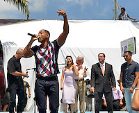 MIAMI, FL - JULY 25: David Ayer, Will Smith, Karen Fukuhara, Mayor of Miami, Tomas Regalado, Commissioner Frank Corollo and Jay Hernandez attends the 'Suicide Squad' Wynwood Block Party and Mural Reveal with cast on July 25, 2016 in Miami, Florida.  Credit: MPI10 / MediaPunch