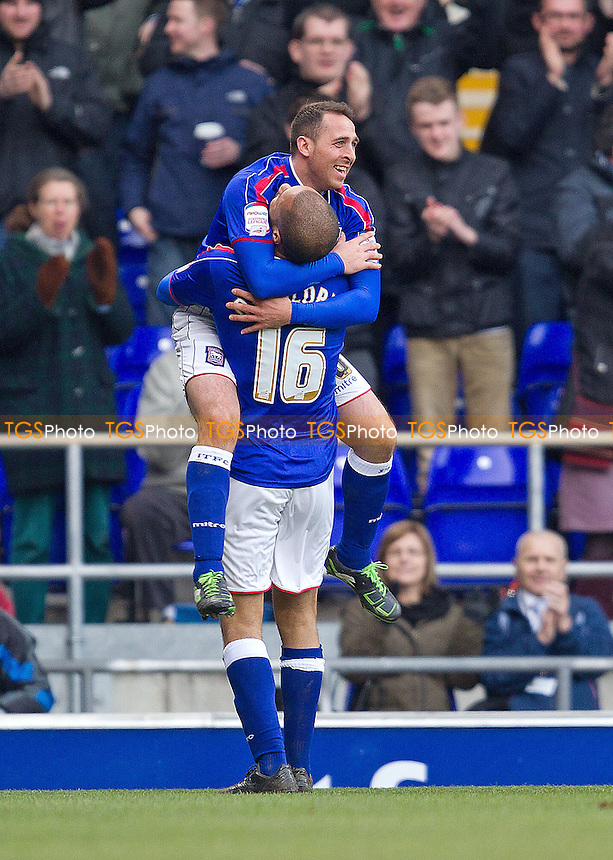Michael Chopra, Ipswich Town FC celebrates with team mate David McGoldrick, following his opening goal - Ipswich Town vs Blackpool - NPower Championship Football at Portman Road, Ipswich, Suffolk - 16/02/13 - MANDATORY CREDIT: Ray Lawrence/TGSPHOTO - Self billing applies where appropriate - 0845 094 6026 - contact@tgsphoto.co.uk - NO UNPAID USE.