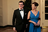 Actor and television host Stephen Colbert, left, and Evie Colbert arrive for a state dinner hosted by U.S. President Barack Obama and first lady Michelle Obama in honor of French President Francois Hollande at the White House in Washington, D.C., U.S., on Tuesday, Feb. 11, 2014. Obama and Hollande said the U.S. and France are embarking on a new, elevated level of cooperation as they confront global security threats in Syria and Iran, deal with climate change and expand economic cooperation. <br /> Credit: Andrew Harrer / Pool via CNP